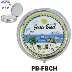 Beach Scene Foil Pill Box