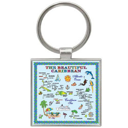 CARIBBEAN MAP SQUARE KEYCHAIN