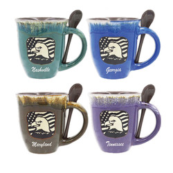 Glazed Ceramic Spoon Mugs Eagle