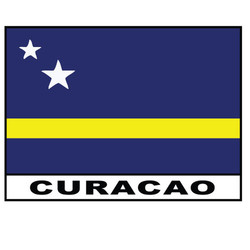 CURACAO, METAL FLAG MAGNET