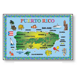 Puerto Rico Map METAL MAGNET
