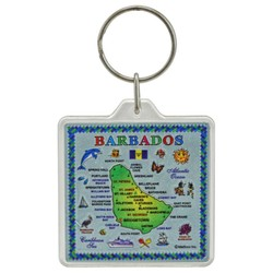 BARBADOS MAP, Acrylic Foil Key Chain
