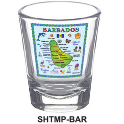 BARBADOS MAP SHOT GLASSES