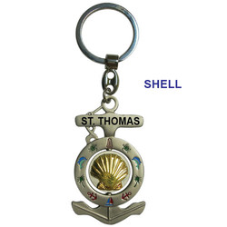 SHELL ANCHOR SPINNER KEYCHAIN