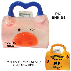 Ceramic Pig Bag Bank