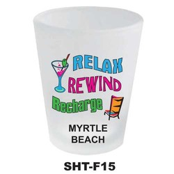 RELAX, REWIND, RECHARGE, NEON SHOT GLASS