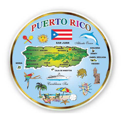 Puerto Rico Map MINI DISH MAGNETS