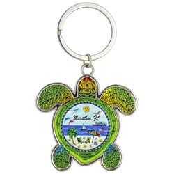 Turtle Foil Key Chain, Ship Beach Scene