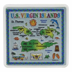 U.S. VIRGIN ISLANDS Map Acrylic Foil Magnets