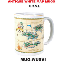 U.S.V.I. Antique White Map Mug