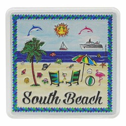 South Beach BEACH SCENE Acrylic Foil Magnets