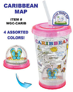 Snow Globe Cups With Straw Caribbean Map