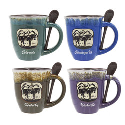Glazed Ceramic Spoon Mugs Horse