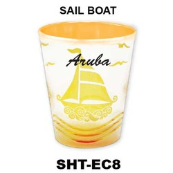 SAIL BOAT etched color shot glasses