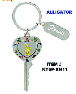Heart Key Spinner Keychains Alligator