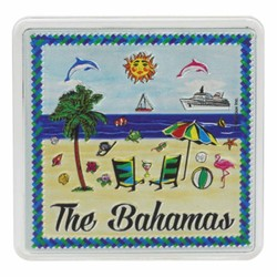 The Bahamas BEACH SCENE Acrylic Foil Magnets