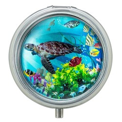 Turtles Glass Top Pill Box