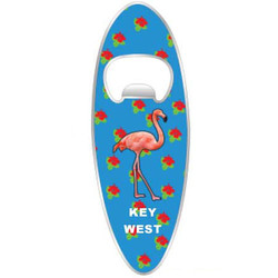 FLAMINGO SURFBOARD BOTTLE OPENER MAGNET