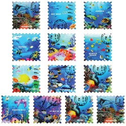 OCEAN GLAZED STAMP MAGNETS