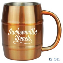 Stainless Steel Barrel Mug. 12 Oz.
