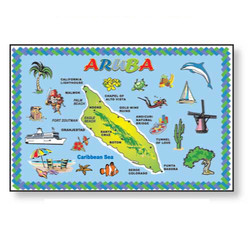 ARUBA MAP METAL MAGNET