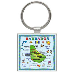 BARBADOS MAP SQUARE KEYCHAIN