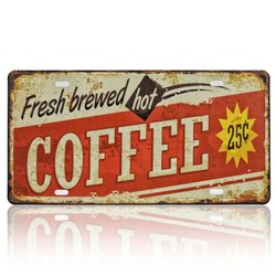 Fresh Brewed Hot Coffee, Souvenir License Plate