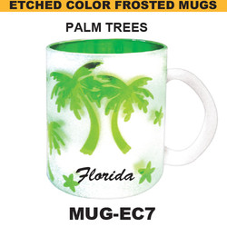 PLAM TREES Etched Color Frosted Mug