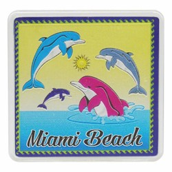 Miami Beach DOLPHINS Acrylic Foil Magnets