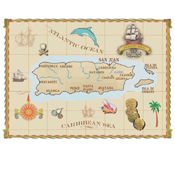 Puerto Rico Small Post Card Parchment Map