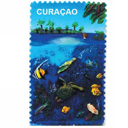 FISH TURTLE & REEF CERAMIC STAMP MAGNET