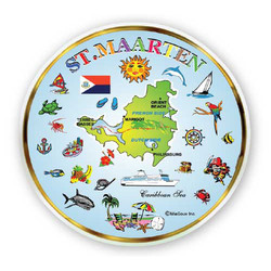 St. Maarten Map MINI PLATE MAGNET