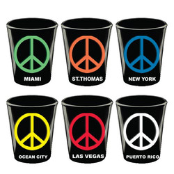 PEACE SIGN, BLACK SHOT GLASSES