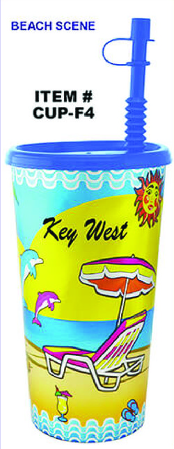 Plastic Foil Cup Beach Scene Key West