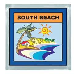 BEACH SCENE SQUARE MAGNET