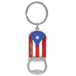 PUERTO RICO FLAG METALLIC BOTTLE OPENER  KEYCHAIN