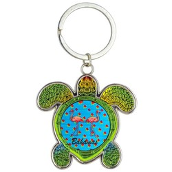 Turtle Foil Key Chain, Flamingos