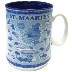 St. Maarten Embossed Blue Map CERAMIC MUG
