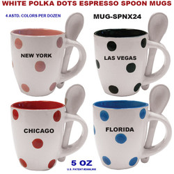 White Polka Dots Espresso Spoon Mugs