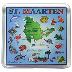 St. Maarten Map SQUARE MAGNET