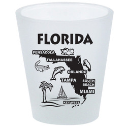 Florida Map FROSTED Shot Glass