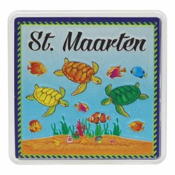 St. Maarten TURTLES Acrylic Foil Magnets