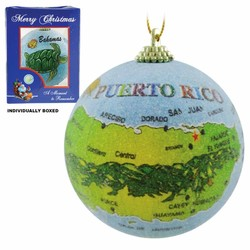 PUERTO RICO MAP FROSTED CHRISTMAS ORNAMENTS
