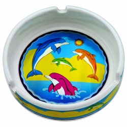 METALLIC SOUVENIR ASHTRAYS, Dolphins