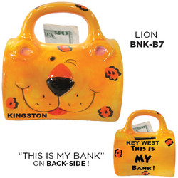 Ceramic Lion Bag Bank