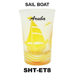 SAIL BOAT etched tapered shot glasses