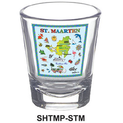 St. Maarten Map CLEAR SHOT GLASS