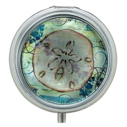Sand Dollar Glass Top Pill Box
