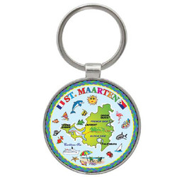 St. Maarten Map ROUND FOIL Key Chain