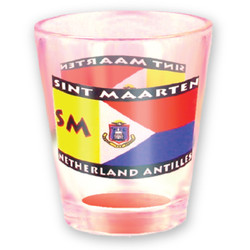 St. Maarten Flag FROSTED SHOT GLASS